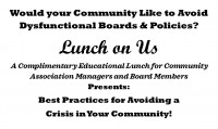Lunch On Us - Best Practices for Avoiding a Crisis in Your Community with Panelists Salvatore Scro, Esq.